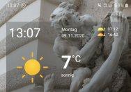 Aber hey, die Uhrzeit, die passt. Und die Temperatur auch.